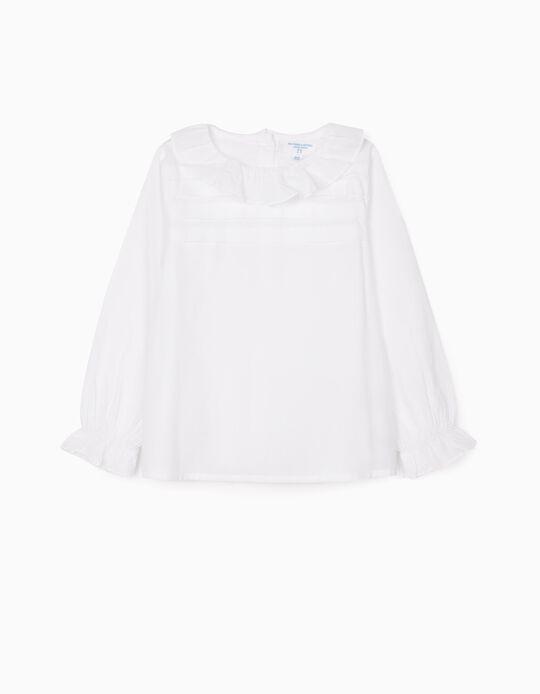 Blusa com Folhos para Menina 'B & S', Branco