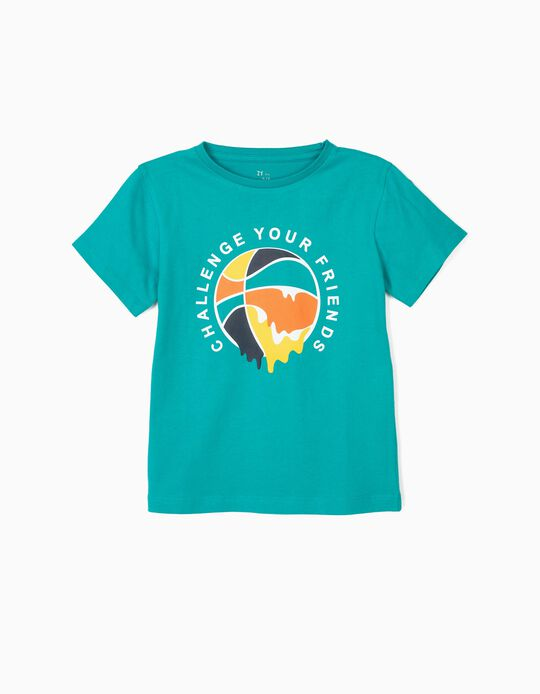 T-shirt para Menino 'Basketball', Verde-Azulada