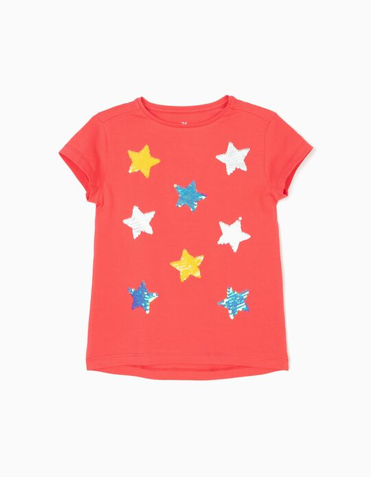 Stars' T-Shirt for Girls, Coral