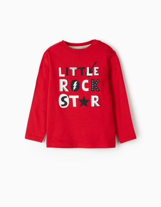 T-shirt Manga Comprida para Bebé Menino 'Rock Star', Vermelho