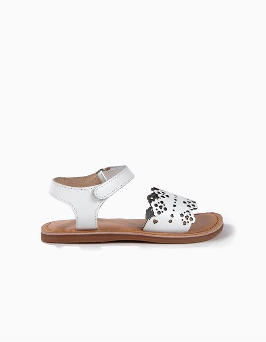 Perforated Leather Sandals for Girls, White