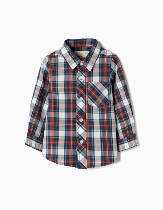 Camisa Manga Corta para Bebé Niño 'Ajedrez', Azul
