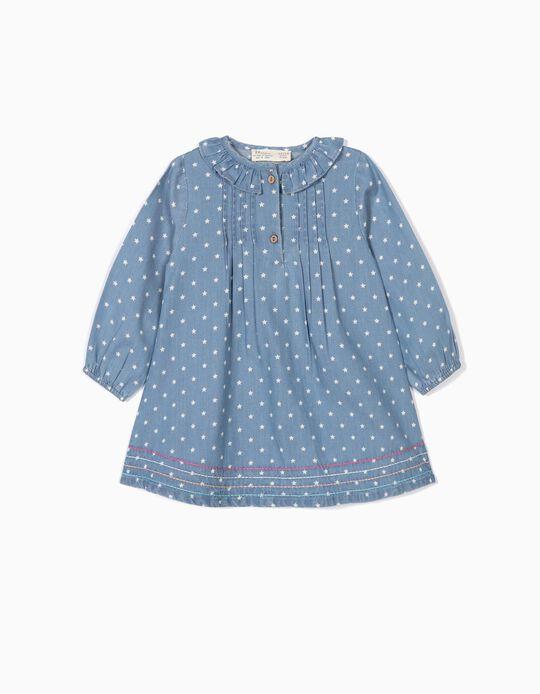 Vestido de Denim para Bebé Niña 'Stars', Azul Claro