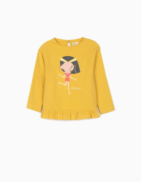 Lightweight Sweatshirt for Baby Girls, 'Dance With Me', Yellow