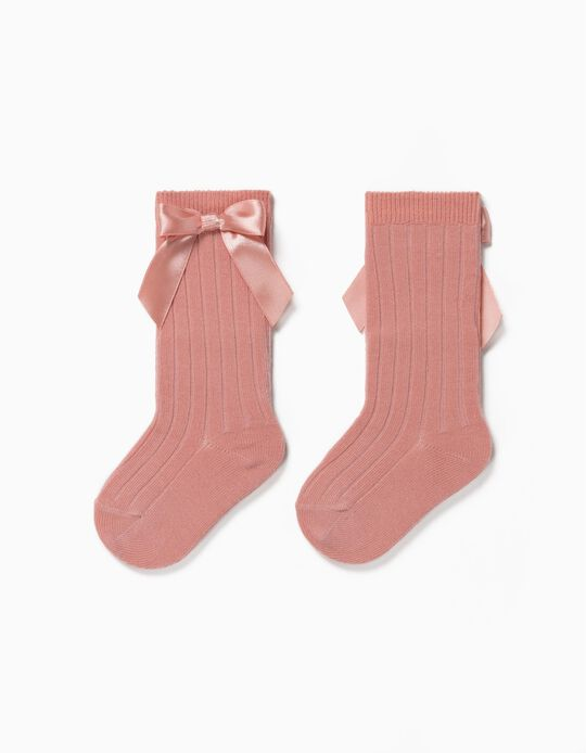 Rib Knit Knee High Socks with Bow for Baby Girls, Pink