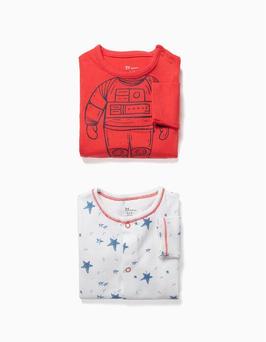 2 Babygrows para Recém-nascido 'Astronaut', Vermelho e Branco