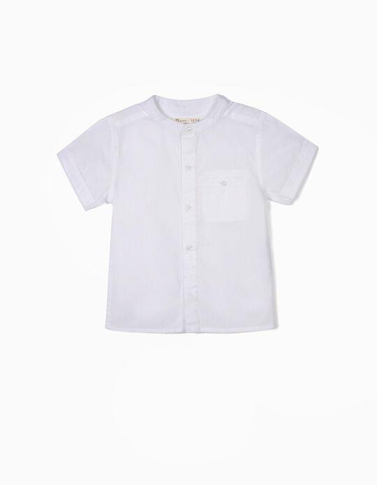 Camisa para Bebé Niño con Cuello Mao, Blanca