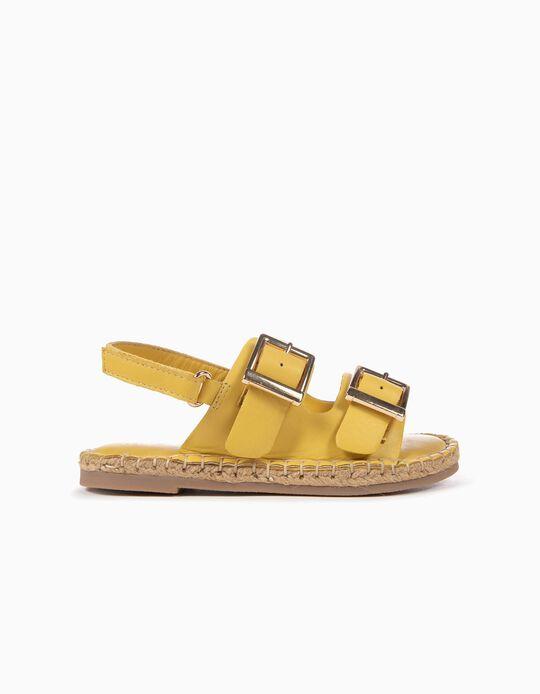 Sandalias de Piel para Niña, Amarillas