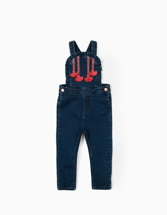 Dungarees with Tassels for Baby Girls, 'Comfort Denim', Dark Blue