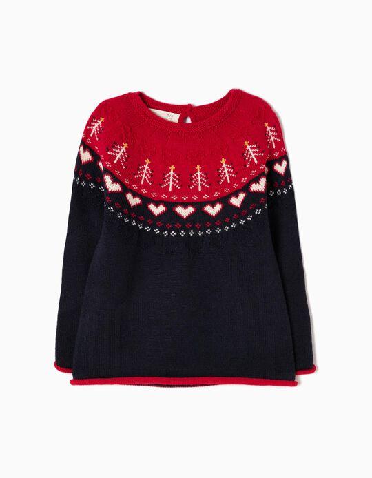 Camisola Malha Corações Azul e Vermelha