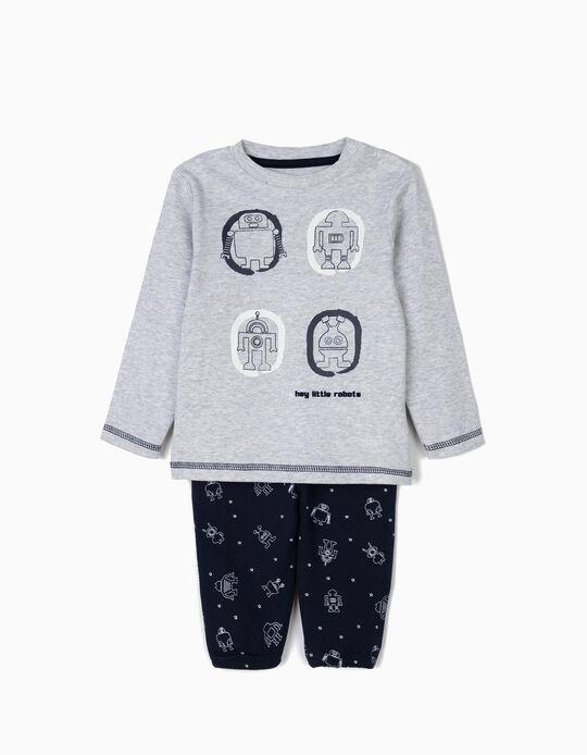 Pijama para Bebé Menino 'Robots', Cinza e Azul