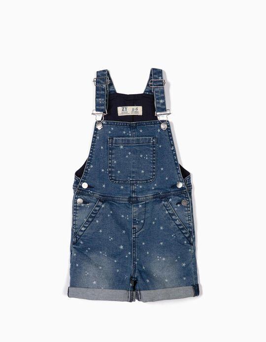 Jardineiras Denim para Menina 'Stars', Azul