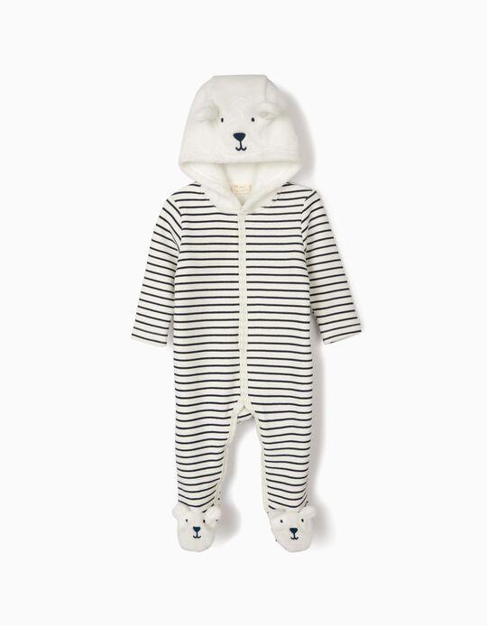 Babygrow com Capuz para Recém-Nascido 'Cute Bear', Branco e Azul