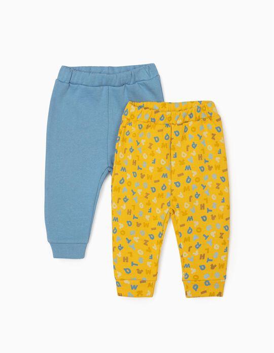 2 Pantalons Nouveau-Né 'Mickey', Bleu/Jaune