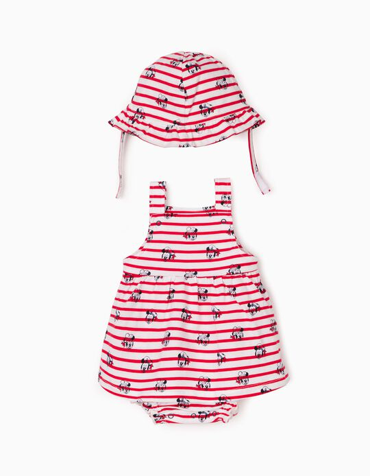 Robe combinaison et chapeau nouveau-née 'Disney', rouge/blanc