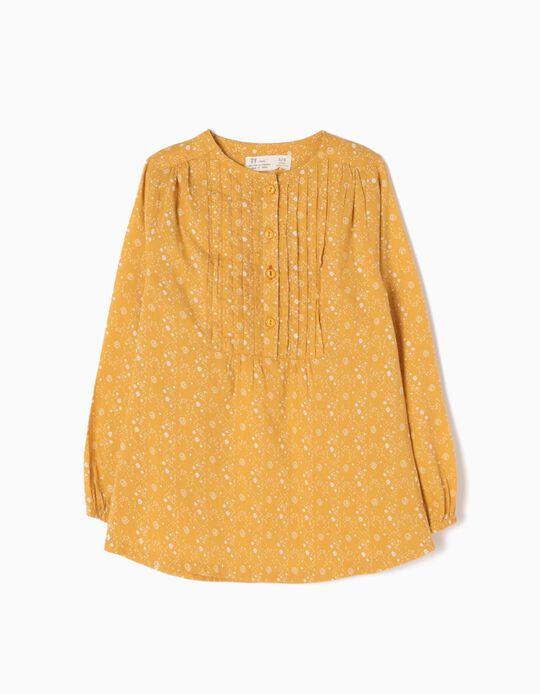 Blusa Pregas e Flores Amarela