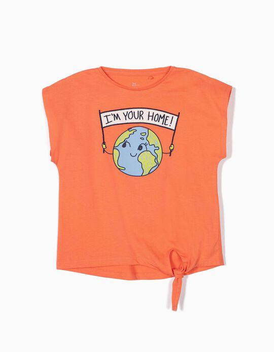 Camiseta para Niña 'Home' con Nudo Delante, Naranja