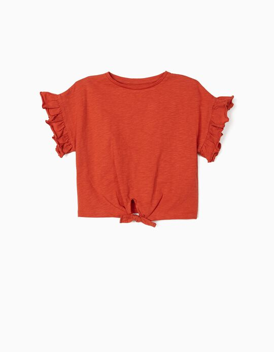 Organic Cotton T-Shirt for Girls, Dark Orange