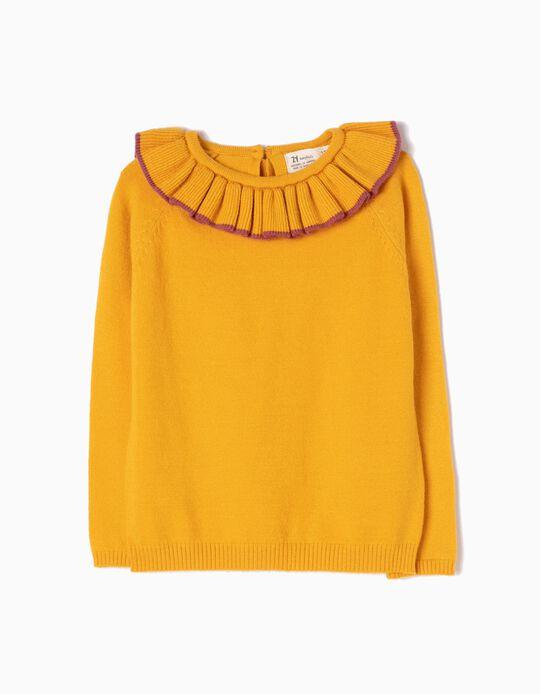 Camisola de Malha Amarela com Folho