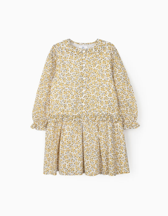 Floral Dress for Girls, White/Yellow