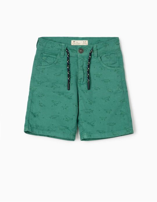 Printed Shorts for Boys, 'Dinosaurs', Green