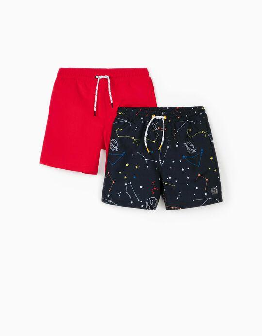 2 Bañadores Shorts para Niño 'Solar System', Azul Oscuro/Rojo