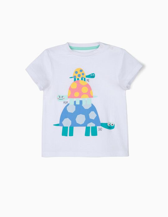 T-shirt para Bebé Menino 'Turtle Family', Branco