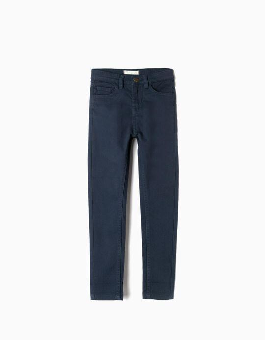 Calças Sarja para Menina, Azul Escuro