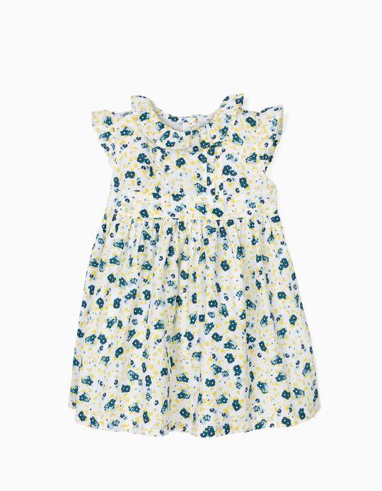 Vestido para Bebé Menina Flores, Branco e Azul