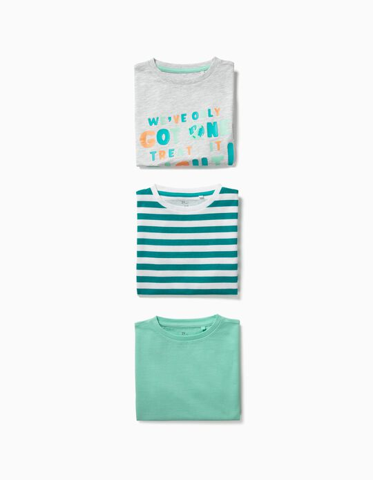 3 Camisetas para Bebé Niño 'Earth', Multicolor