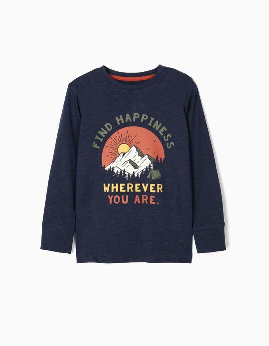 T-shirt Manga Comprida para Menino 'Hapiness', Azul Escuro
