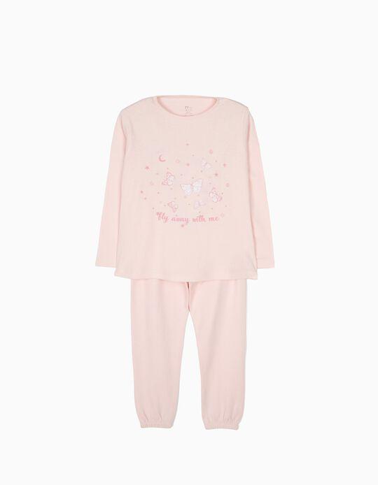 Pijama Manga Comprida e Calças Borboletas Rosa