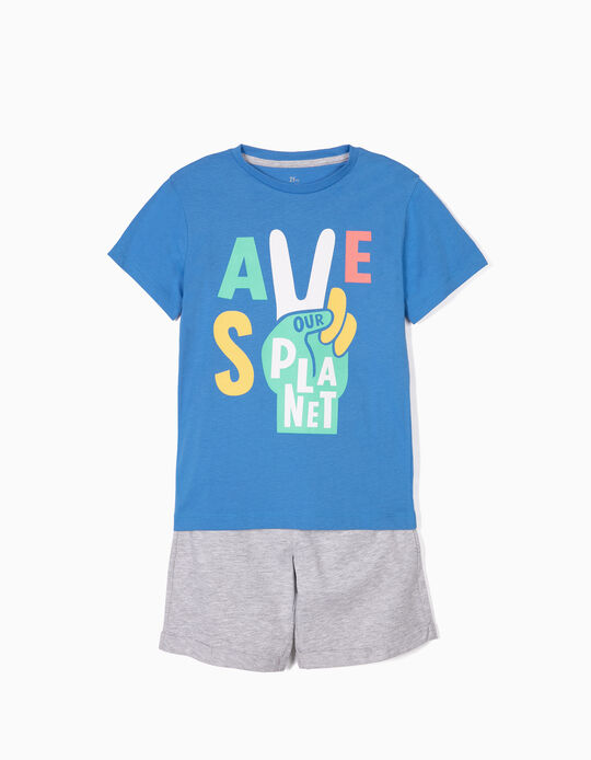Camiseta y Short para Niño 'Protect the Beach', Gris y Azul