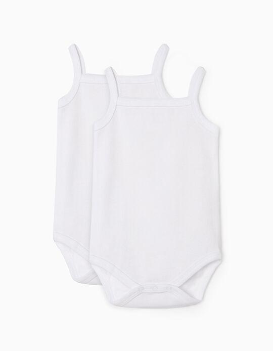 2-Pack Sleeveless Bodysuits for Baby, White