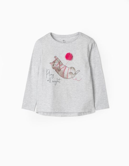 Camiseta de Manga Larga para Niña 'Play All Night', Gris