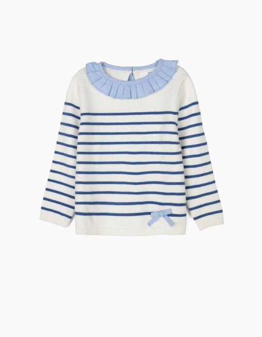 Camisola de Malha para Bebé Menina, Branco e Azul