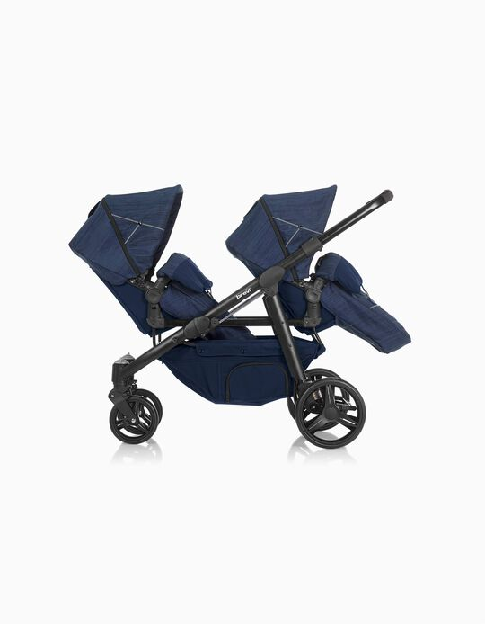 Ovo Twin Premium Pushchair by Brevi, Blue Jeans