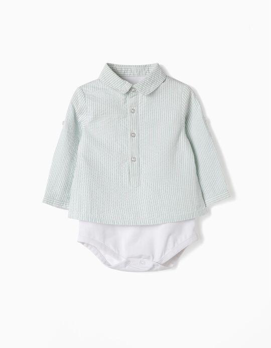 Body Camisa para Recién Nacido a 'Rayas', Verde y Blanco