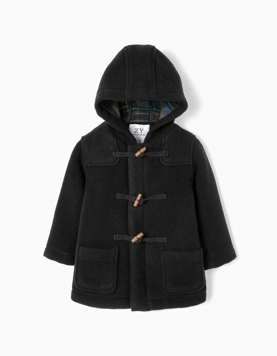 Hooded Duffle Coat for Baby Boys, Dark Blue