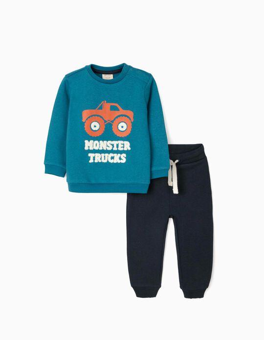 Tracksuit for Baby Boys 'Monster Trucks', Blue