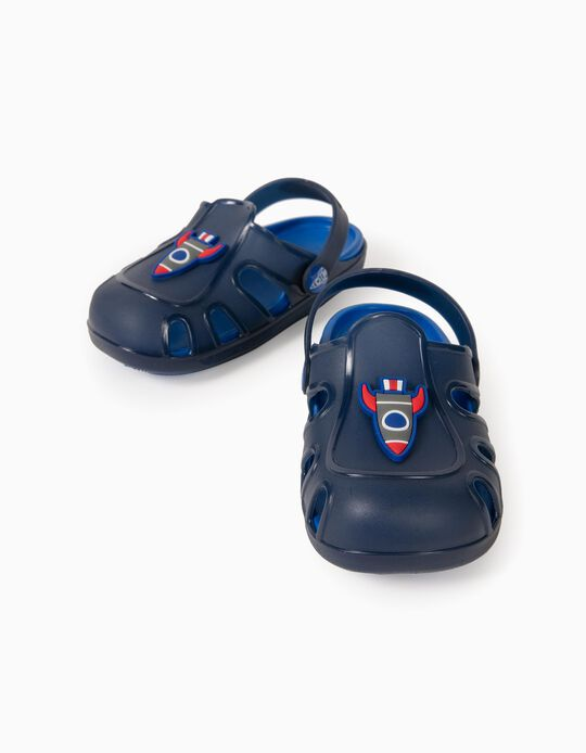 Clog Sandals for Boys, 'Big Rocket', Blue