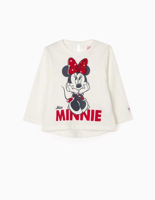 Camiseta de Manga Larga para Bebé Niña 'Minnie', Blanca