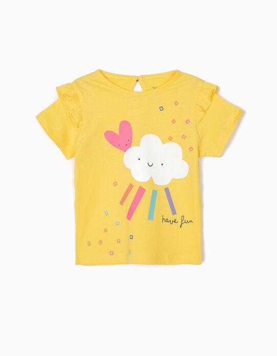 T-shirt para Bebé Menina 'Have Fun', Amarelo