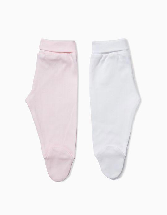 Pack 2 Pantalones con Pies Rosa y Blanco