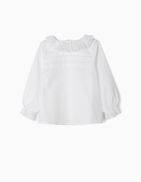 Blouse with Ruffles for Girls 'B&S', White