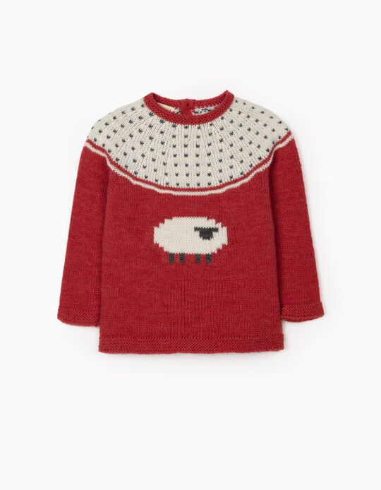 Jumper for Baby Girls 'Sheep', Red
