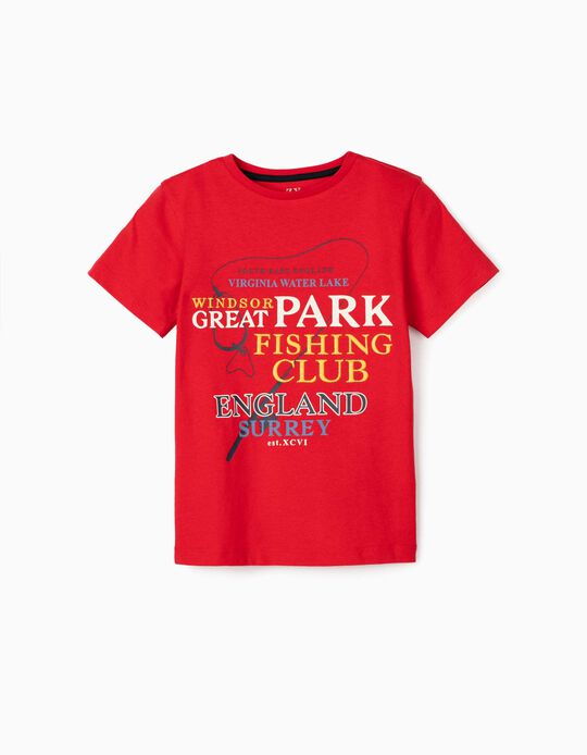 T-shirt garçon 'Fishing Club', rouge