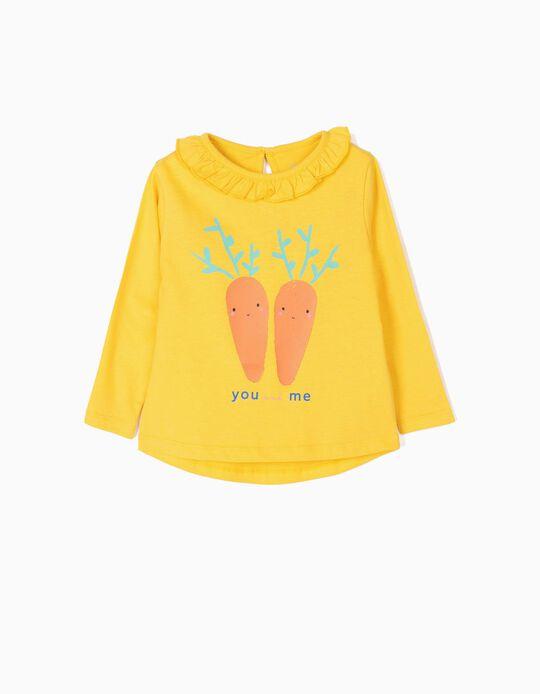 Camiseta de Manga Larga para Bebé Niña 'You and Me', Amarillo