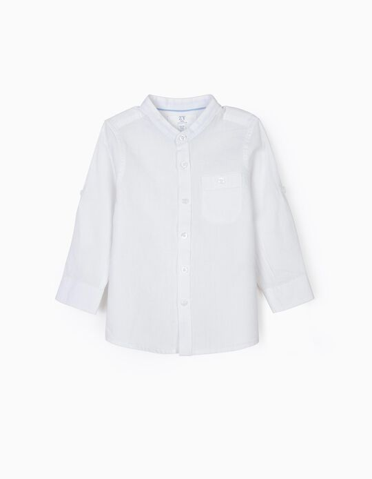 Shirt with Mao Collar for Baby Boys, White