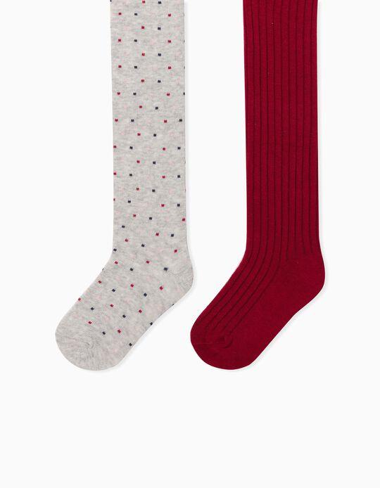 2 Collants de Malha para Bebé Menina 'Dots', Cinza/Vermelho
